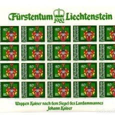 Sellos: FÜRSTENTUM LIECHTENSTEIN - ESCUDO DE ARMAS - JOHANN KAISER - MINIHOJAS - SERIE 4 HB- SELLOS - 1982. Lote 91050405