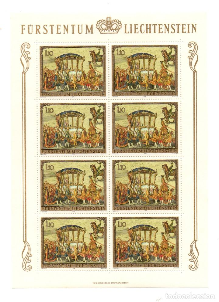 Sellos: Liechtenstein - Pinturas caballos - Pintura ecuestre - Serie 3 hb - 8 sellos -1978 - minihojas - Foto 2 - 91143085