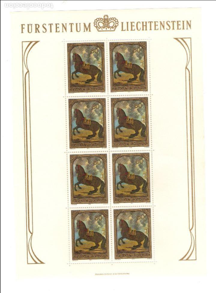 Sellos: Liechtenstein - Pinturas caballos - Pintura ecuestre - Serie 3 hb - 8 sellos -1978 - minihojas - Foto 3 - 91143085