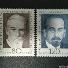 Sellos: LIECHTENSTEIN. YVERT 456/7. SERIE COMPLETA NUEVA SIN CHARNELA. PIONEROS DE LA FILATELIA.. Lote 110423287