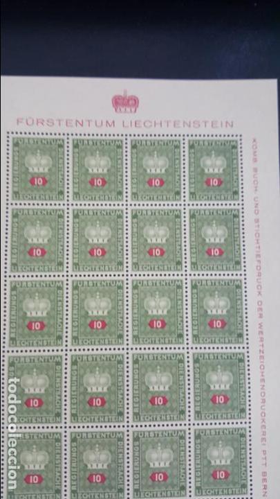 Sellos: Lote 10 hojas de 20 sellos cada una de 1950 de la corona Liechtenstein. - Foto 5 - 133600358