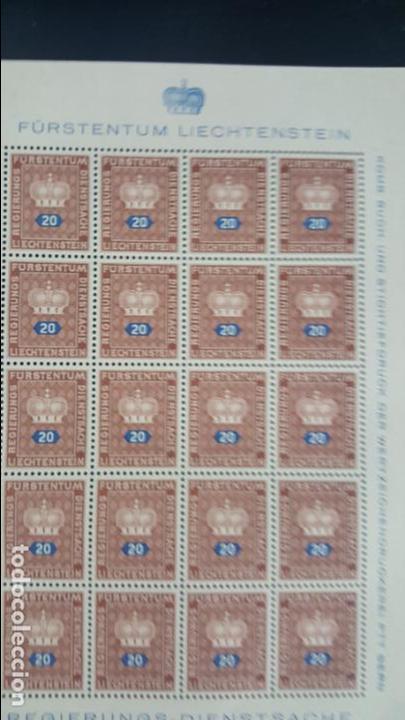 Sellos: Lote 10 hojas de 20 sellos cada una de 1950 de la corona Liechtenstein. - Foto 6 - 133600358