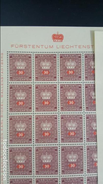 Sellos: Lote 10 hojas de 20 sellos cada una de 1950 de la corona Liechtenstein. - Foto 7 - 133600358