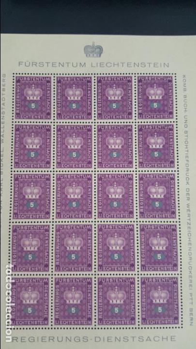Sellos: Lote 10 hojas de 20 sellos cada una de 1950 de la corona Liechtenstein. - Foto 8 - 133600358