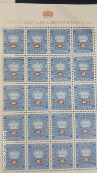 Sellos: Lote 10 hojas de 20 sellos cada una de 1950 de la corona Liechtenstein. - Foto 11 - 133600358