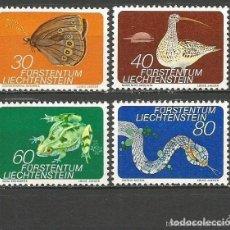 Sellos: LIECHTENSTEIN 1973 IVERT 538/41 *** FAUNA DE LOS PANTANOS - INSECTOS Y REPTILES. Lote 151870198