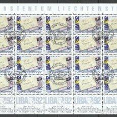 Sellos: LIECHTENSTEIN - 1991 - MICHEL 1026 - USADO (HOJA COMPLETA). Lote 154289886