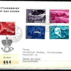 Sellos: 1959 LIECHTENSTEIN SOBRE PRIMER DÍA SPD FDC YVERT 343/347 MICHEL 381/385 - PAISAJES - CERTIFICADA. Lote 158156038