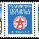 Sellos: [CF2153A] DDR 1984, 20 FESTIVAL DE LOS TRABAJADORES. GERA (MNH). Lote 160516762
