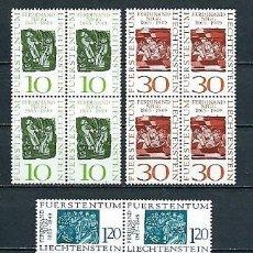 Sellos: LIECHTENSTEIN, FERNANDO NIGG,1965,NUEVOS,YVERT 405-407,BLOQUE DE CUATRO. Lote 286655303