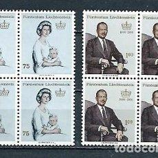 Sellos: LIECHTENSTEIN, PRÍNCIPES,1965-1966,NUEVOS,YVERT 403 Y 412,BLOQUES DE CUATRO. Lote 286655383