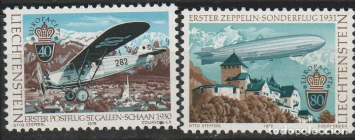 LOTE (2) SELLOS LIECHTENSTEIN NUEVOS SERIE 1979 AEREO ZEPPELIN (Sellos - Extranjero - Europa - Liechtenstein)
