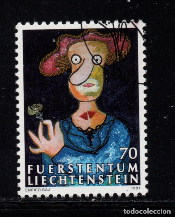 LIECHTENSTEIN 1099 - AÑO 1997 - PINTURA - OBRA DE ENRICO BAJ (Sellos - Extranjero - Europa - Liechtenstein)
