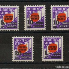 Sellos: LIECHTENSTEIN, FISCAL. MH *YV . 1938. SERIE COMPLETA, CINCO VALORES. STEVER MARKE. MAGNIFICA Y RARA. Lote 183150315
