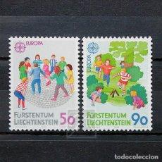 Sellos: LIECHTENSTEIN 1989 ~ EUROPA: JUEGOS INFANTILES ~ SERIE NUEVA MNH LUJO. Lote 186924340