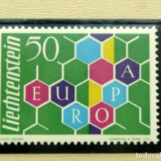 Sellos: EUROPA CEPT 1960 LIECHTENSTEIN , MNH SIN FIJASELLOS, CAT. MICHEL Nº 398, 85€, VALOR CLAVE AÑO 1960. Lote 211729696