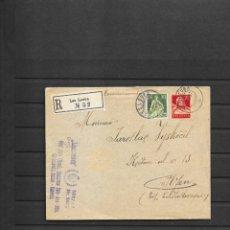 Sellos: LIECHTENSTEIN- SUIZA SOBRE CERTIFICADO 1927 LES LEUBA A CHECOESLOVAQUIA, CON VIÑETA DE 5 FRANCOS. Lote 193554146