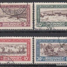 Sellos: LIECHTENSTEIN, 1928 YVERT Nº 78 / 81, DESASTRE DE LA INUNDACIÓN. Lote 196344227