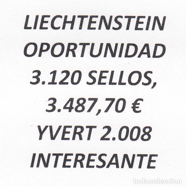 INTERESANTE LOTE LIECHTENSTEIN, COMPUESTO POR 3.120 SELLOS, CON 3.487,70 € CATALOGO YVERT 2.008 + (Sellos - Extranjero - Europa - Liechtenstein)