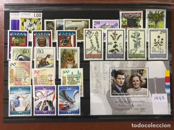 LIECHTENSTEIN 1993 AÑO COMPLETO MICHEL 1054/78** MNH (Sellos - Extranjero - Europa - Liechtenstein)