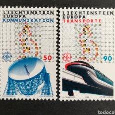 Sellos: LIECHTENSTEIN, EUROPA CEPT 1988 MNH, TRANSPORTES Y COMUNICACIONES (FOTOGRAFÍA REAL). Lote 204054370