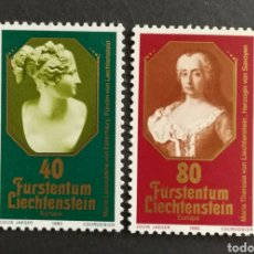 Sellos: LIECHTENSTEIN, EUROPA CEPT 1980 MNH, PERSONAJES CÉLEBRES (FOTOGRAFÍA REAL). Lote 204144007