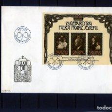Sellos: SELLOS DE LIECHTENSTEIN-HOJA BOQUE-EN SOBRE PRIMERDIA AÑO 1981-75 ANIVERSARIO DR FCO.JOSE II .SOBRE. Lote 206853702