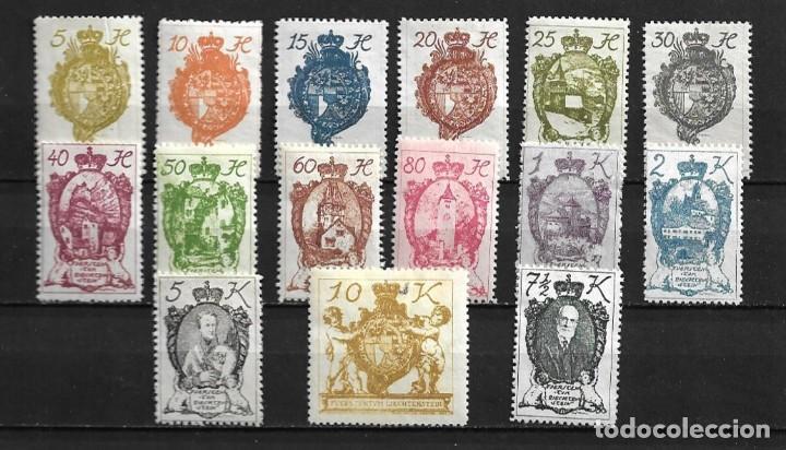 LIECHTENSTEIN,1920,SERIE GENERAL,NUEVOS CON CHARNELA,MH,COMPLETA,YVERT 25-39 (Sellos - Extranjero - Europa - Liechtenstein)