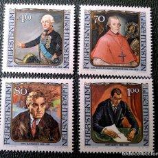 Sellos: LIECHTENSTEIN. 780/83 VISITANTES CÉLEBRES: SOUVOROV, BUOL-SCHANUENSTEIN, ZUCKMAYER, GOETZ. 1984. SEL. Lote 211646416
