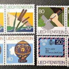 Sellos: LIECHTENSTEIN. 765/68 CONSEJO EUROPA, PRIMERAS ASCENSIONES EN GLOBO, AÑO MUNDIAL DE LAS COMUNICACION. Lote 211646445