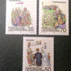 Sellos: LIECHTENSTEIN. 840/42 FOLKLORE DE PRIMAVERA: DOMINGO DE RAMOS, FIESTA DE BODAS, PROCESIÓN DE LAS ROG. Lote 211646470
