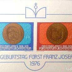 Sellos: LIECHTENSTEIN.HB 13 ANIVERSARIO PRÍNCIPE FRANCISCO JOSÉ II. 1976. SELLOS NUEVOS Y NUMERACIÓN YVERT.. Lote 211646490