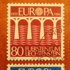 Sellos: LIECHTENSTEIN, EUROPA CEPT 1984 USADA (FOTOGRAFÍA REAL). Lote 213697296