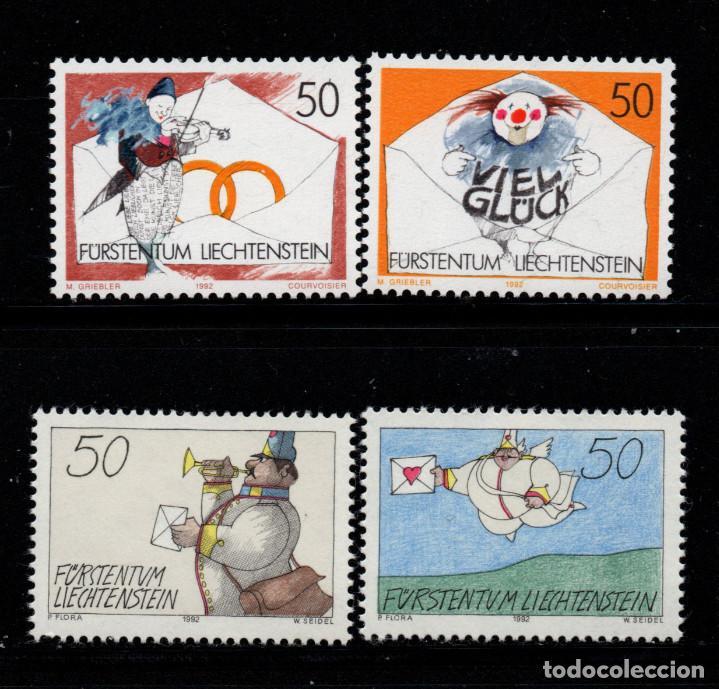 LIECHTENSTEIN 982/85** - AÑO 1992 - SELLOS DE MENSAJE (Sellos - Extranjero - Europa - Liechtenstein)