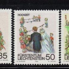 Sellos: LIECHTENSTEIN 840/42** - AÑO 1986 - FOLKLORE - COSTUMBRES DE PRIMAVERA. Lote 220269581