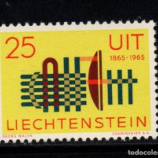 Sellos: LIECHTENSTEIN 404** - AÑO 1965 - CENTENARIO DE LA UNION INTERNACIONAL DE TELECOMUNICACIONES. Lote 222047242
