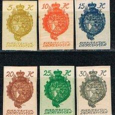 Sellos: LIECHTENSTEIN IVERT Nº 25/9 (AÑO 1920), NUEVO CON SEÑAL DE CHARNELA, SIN DENTAR,. Lote 247408715