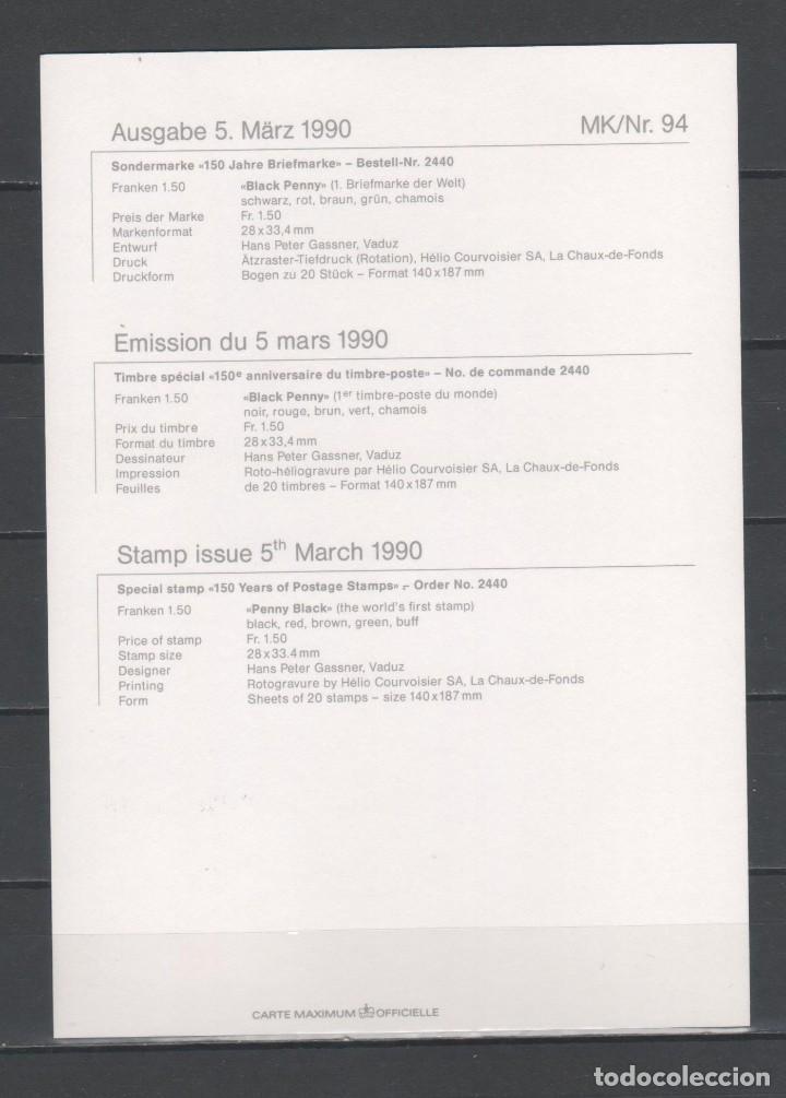 Sellos: TARJETA POSTAL DE PRIMER DÍA DE EMISIÓN DE LIECHTENSTEIN -150 AÑOS DEL SELLO DE CORREOS-, AÑO 1990 - Foto 2 - 253881950
