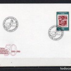 Sellos: FDC, SOBRE DE PRIMER DÍA DE EMISIÓN DE LIECHTENSTEIN -50 ANIVERSARIO DEL MUSEO POSTAL-, AÑO 1980. Lote 255395340