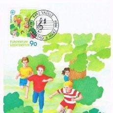 Sellos: [C0280] LIECHTENSTEIN 1989; MAXICARD EUROPA: JUEGOS INFANTILES, 90 RP (M). Lote 264485649