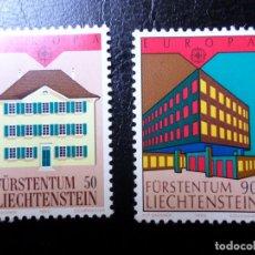 Sellos: *LIECHTENSTEIN,1990, EUROPA, EDIFICIOS POSTALES, YVERT 925/6. Lote 288075958