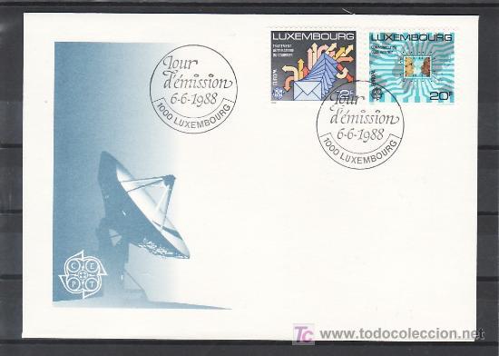 LUXEMBURGO 1149/50 PRIMER DIA, TEMA EUROPA 1988, TRANSPORTES Y COMUNICACIONES, (Sellos - Extranjero - Europa - Luxemburgo)