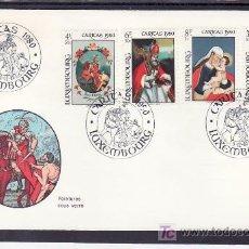 Sellos: LUXEMBURGO 968/71 PRIMER DIA, PINTURA SOBRE CRISTAL DEL MUSEO DE ARTE, NAVIDAD,. Lote 207818505