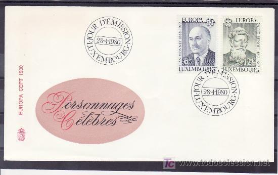 LUXEMBURGO 959/60 PRIMER DIA, TEMA EUROPA 1980, JEAN MONNET, SAN BENITO, RELIGION, ESCULTURA, (Sellos - Extranjero - Europa - Luxemburgo)