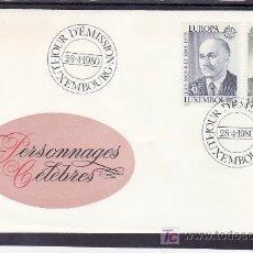 Sellos: LUXEMBURGO 959/60 PRIMER DIA, TEMA EUROPA 1980, JEAN MONNET, SAN BENITO, RELIGION, ESCULTURA, . Lote 11147170