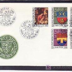 Sellos: LUXEMBURGO 991/5 PRIMER DIA, RELIGION, PINTURA, NAVIDAD, ESCUDO MUNICIPIO Y CUADRO, . Lote 11316292