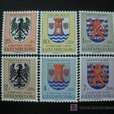 Sellos: LUXEMBURGO 1956 IVERT 520/25 *** PRO OBRAS SOCIALES - ESCUDOS (I). Lote 27519314