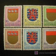 Sellos: LUXEMBURGO 1959 IVERT 570/5 *** PRO OBRAS SOCIALES - CARITAS - ESCUDOS (IV). Lote 24142016