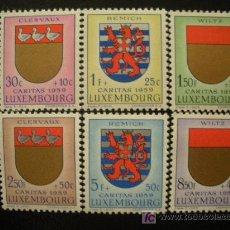 Sellos: LUXEMBURGO 1959 IVERT 570/5 *** PRO OBRAS SOCIALES - CARITAS - ESCUDOS (IV). Lote 19407567