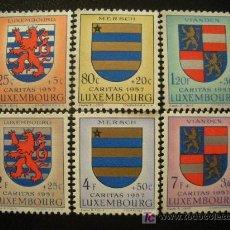 Sellos: LUXEMBURGO 1957 IVERT 534/9 *** PRO OBRAS SOCIALES - ESCUDOS (II). Lote 24142020